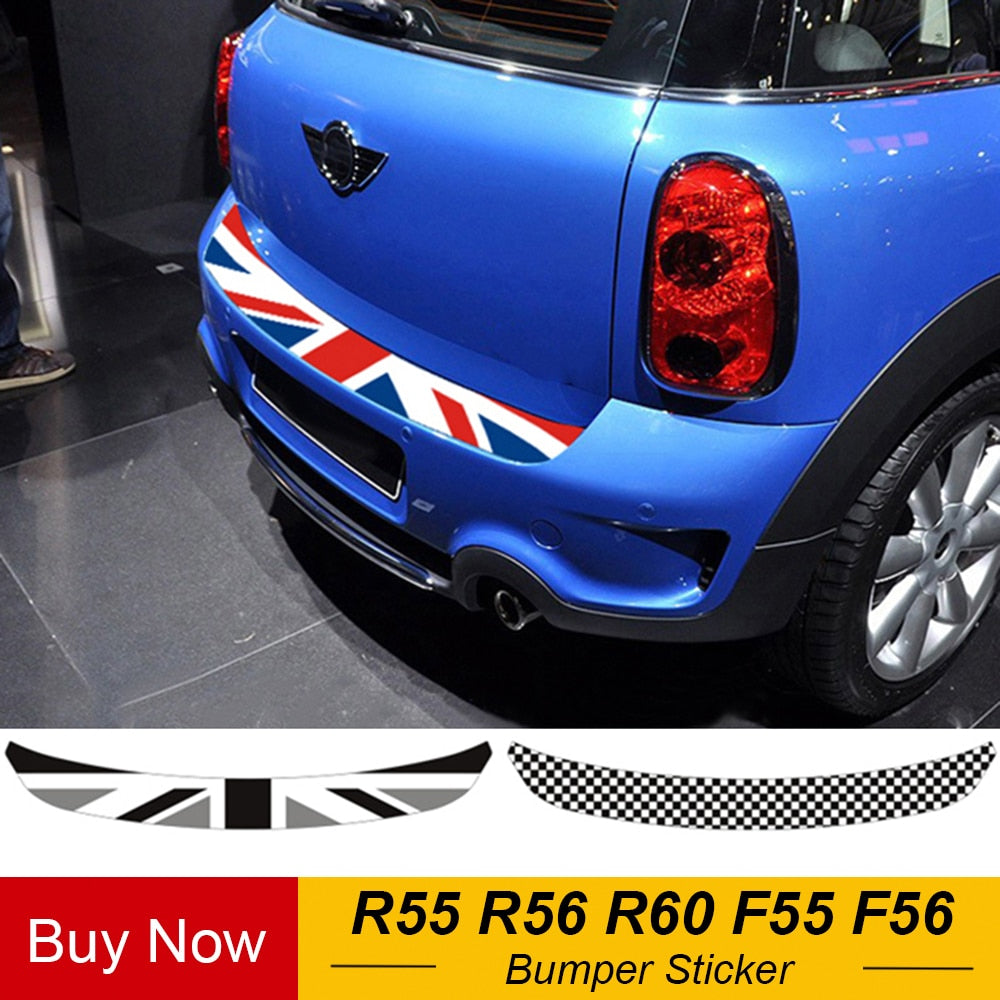 Union Jack Car Rear Bumper Decoration Sticker Trunk Load Edge Protection Decal For Mini Cooper R55 R56 R60 F55 F56 Car-Styling