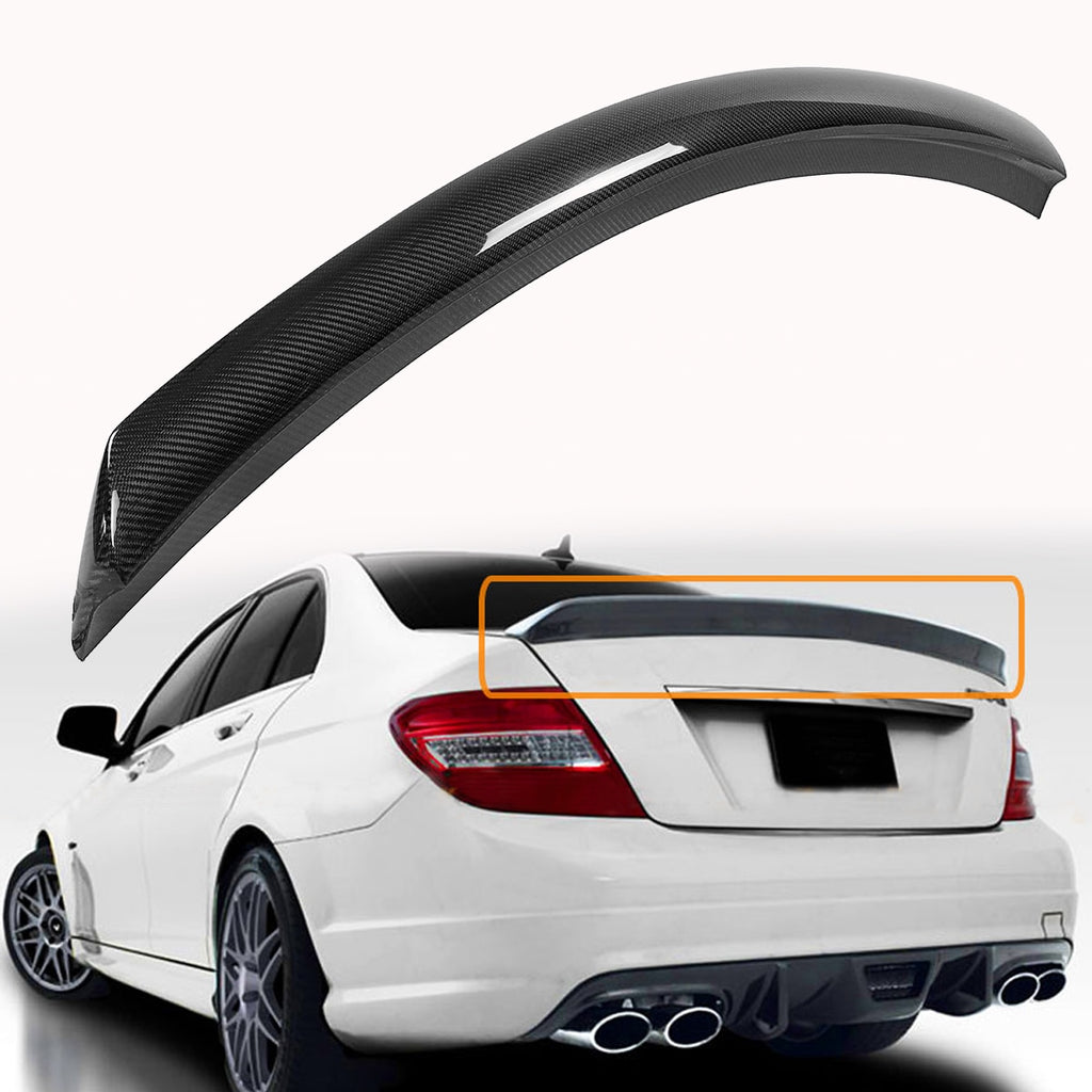 Rear Carbon Fiber Rear Spoiler Wing For Mercedes-Benz W204 C250 C300 C63 2008-2014 4 Door Rear Wing Spoiler Rear Trunk Roof Wing