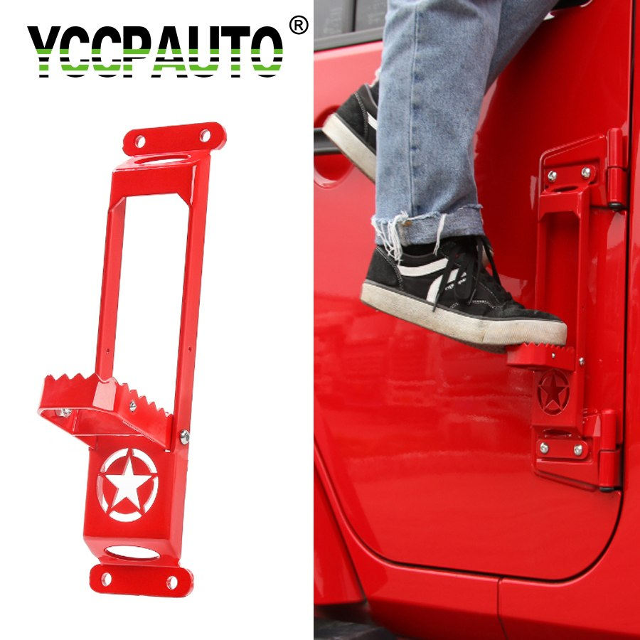YCCPAUTO Car Styling Foot Pedal Door Hinges For Jeep Wrangler 2007 Up Plate Climbing Kit Exterior Parts Steel With Star 1PCS