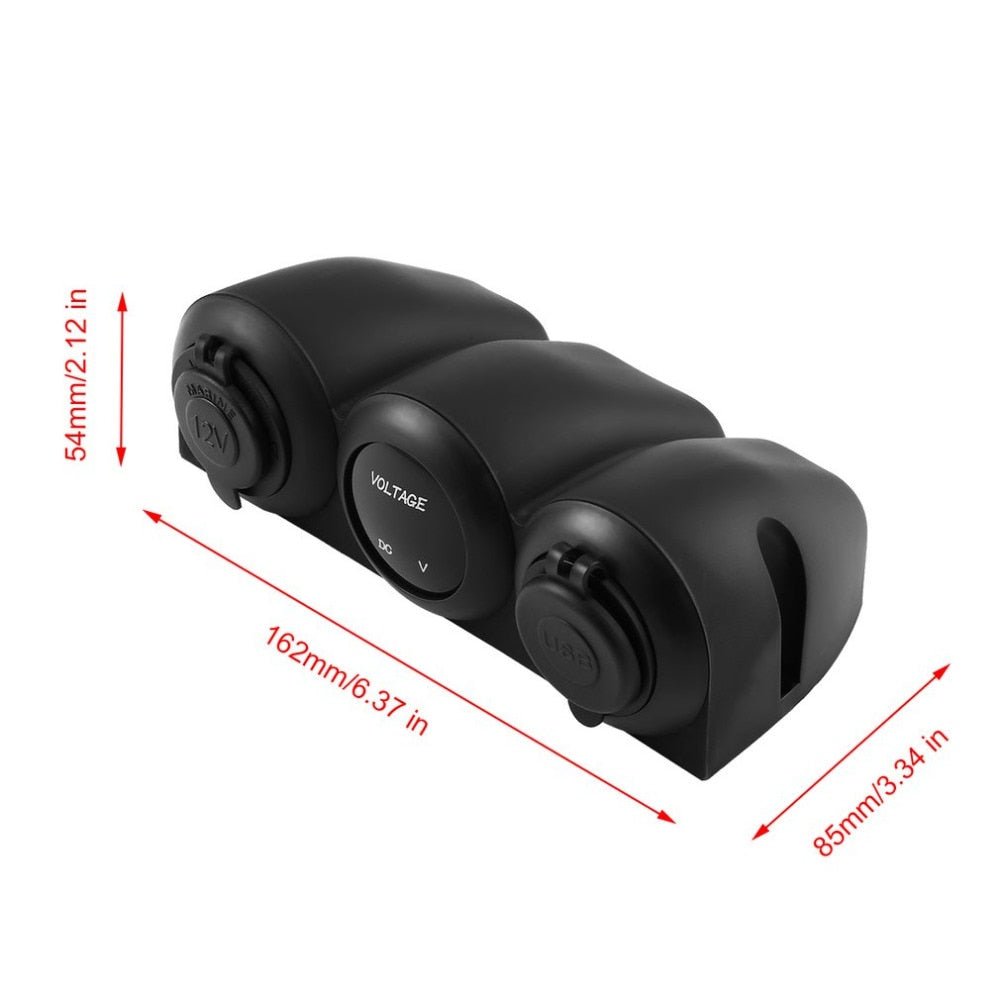 Car Charger Dual USB Adapter Charger Waterproof 12V-24V Digital Voltmeter Cigarette Lighter Sockets Power Outlet for Car Boat