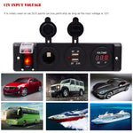 12V 16A Dual USB Auto Car Charger Adapter Four Bit Power Control Switch Panel with Voltmeter Cigarette Lighter Socket Splitter
