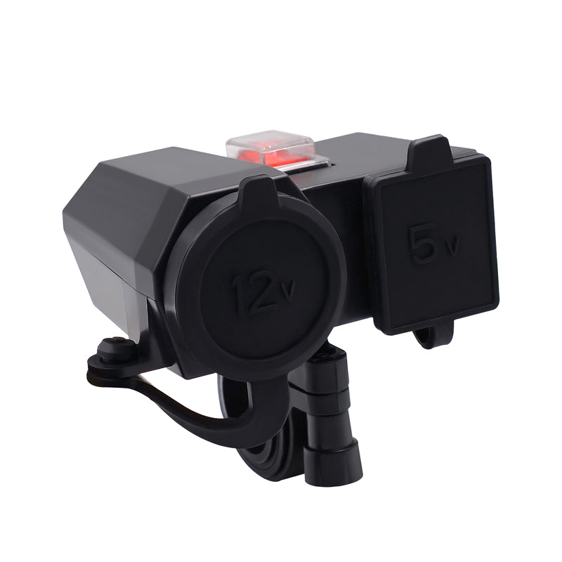 WUPP Motorcycle Cigarette Lighter Socket Adapter 12V 4.2A Usb Outlet Led Display Voltmeter With Cigarette Butts Switch On/ Off