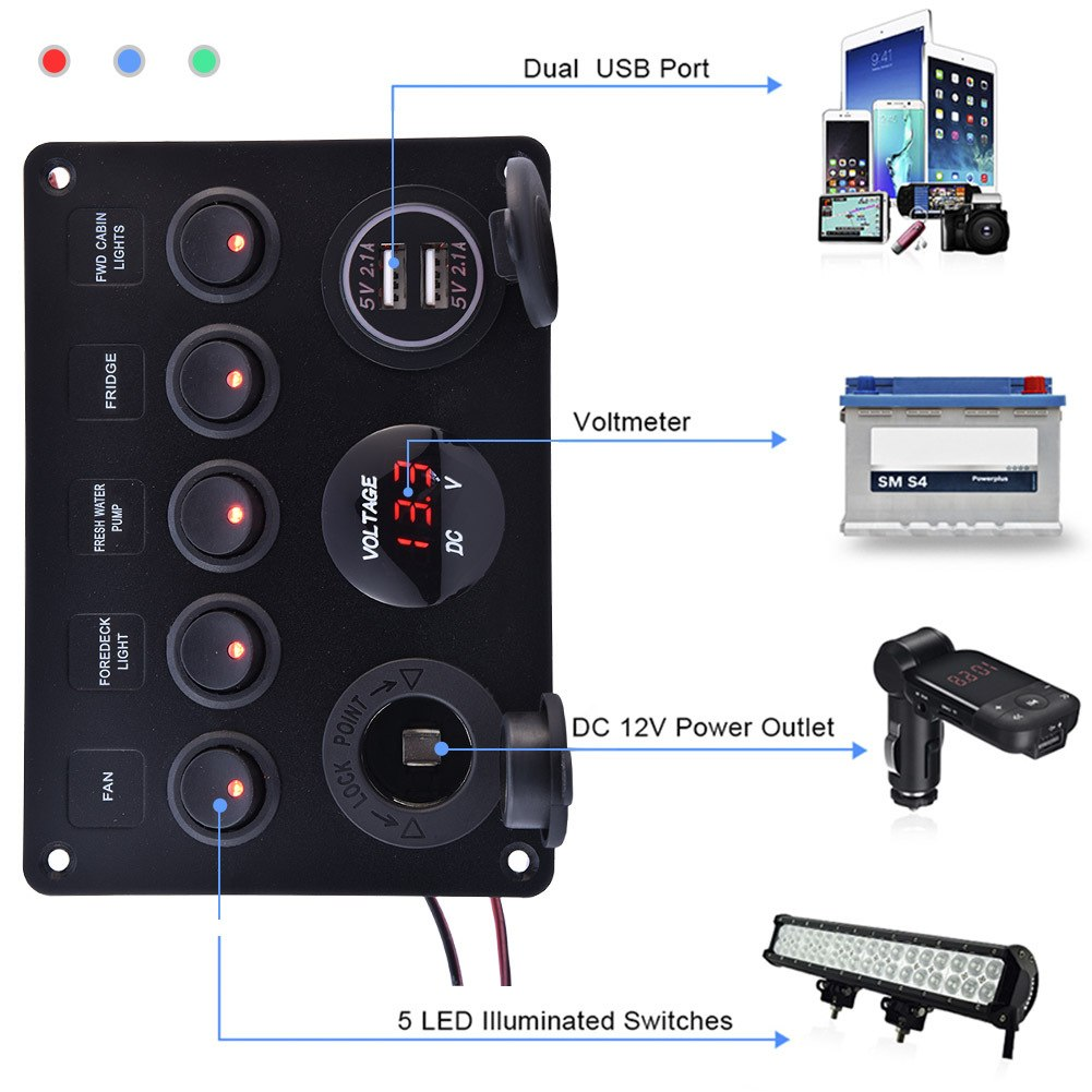 Dual USB 4.2A Socket Charger Switches & Relays LED 12V Power Outlet 5 Gang ON-OFF Toggle Switch Panel for Car Boat RV Truck