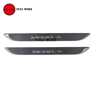 Car Styling Front Door Sill Scuff Plate Carbon Fiber Protector Cover for 2016-2018 Tesla Model S Accessories ( Set of 2 pieces)
