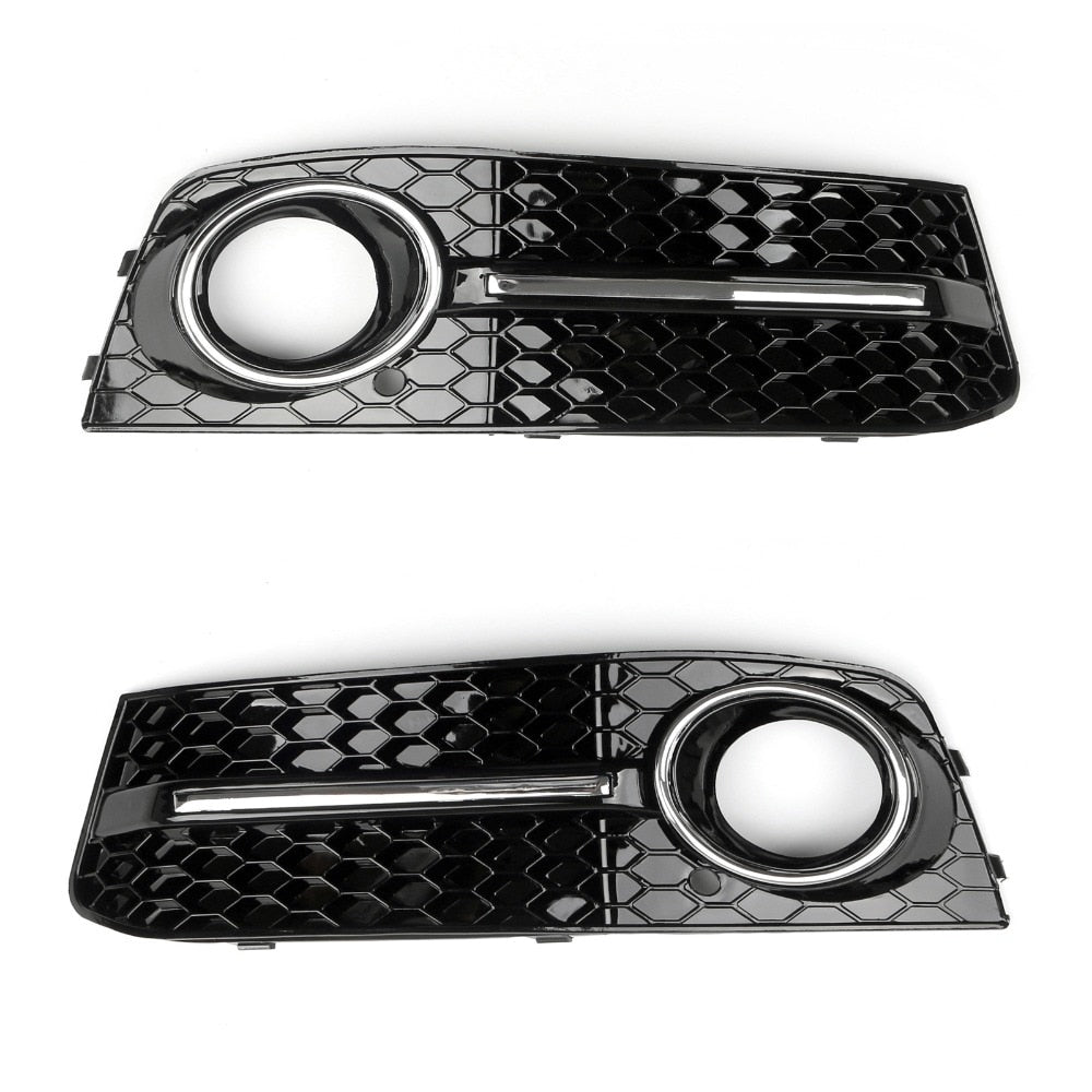 Areyourshop Car Front Bumper Fog Light Comb Grilles Grill For Audi A4 B8 2009-2012 Left/ Right ABS Plastic Car Styling Parts