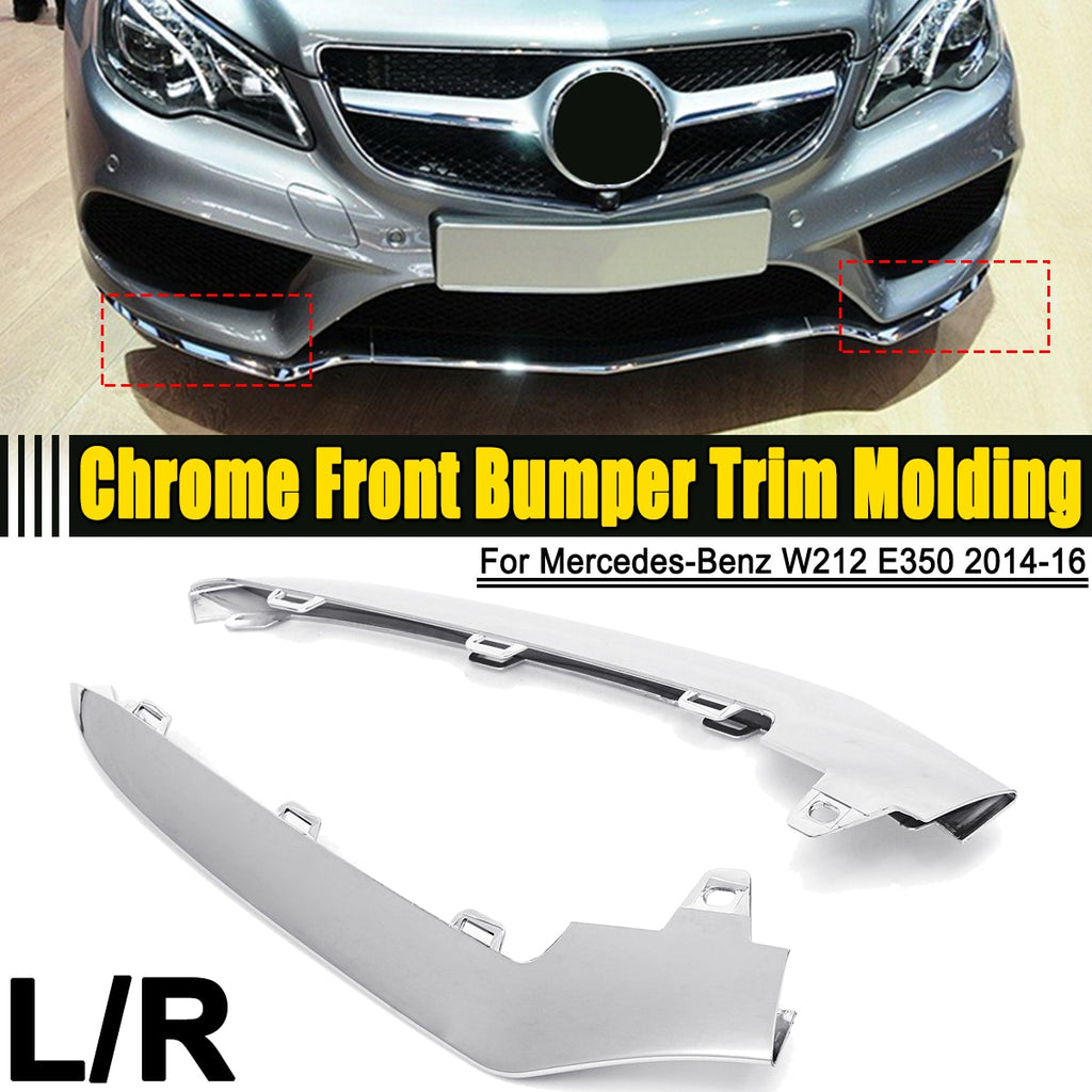 Left / Right ABS Chrome Sliver Front Bumper Cover Trim Molding For Mercedes-Benz W212 E-Class E350 2014 2015 2016