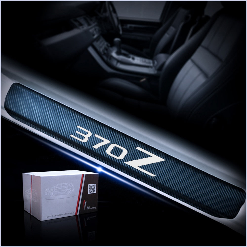 4D Carbon Fiber Vinyl Sticker For Nissan 370Z Car Door Sill Protector Door Step Plate Protector Interior Car Accessories 4Pcs