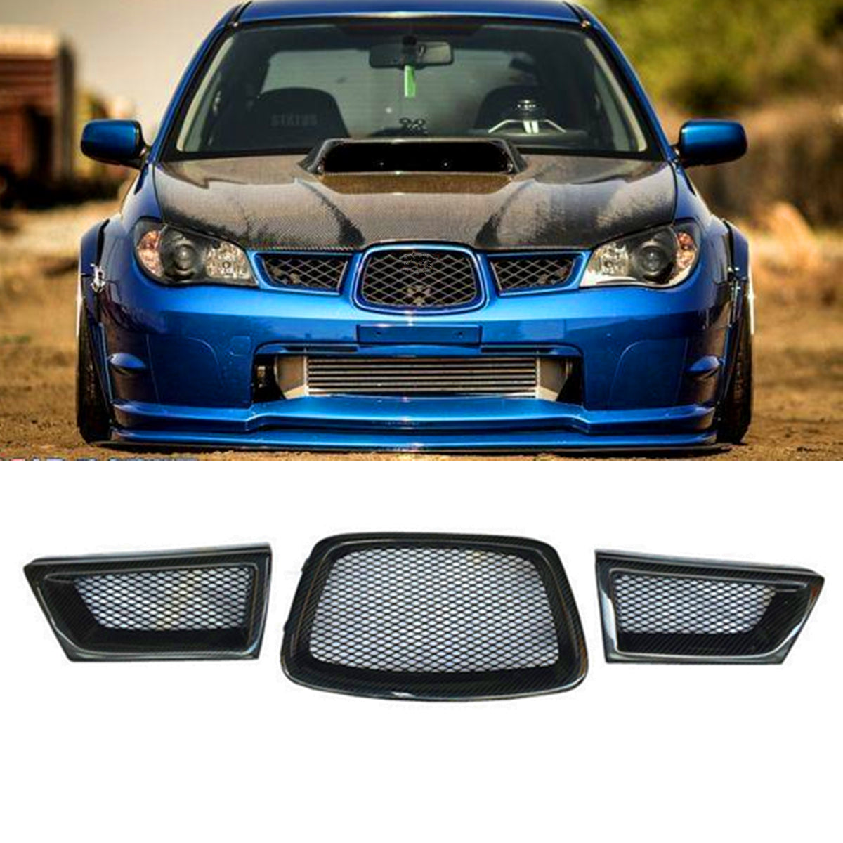 Black 3Pcs Carbon Fiber Car Front Lower Mesh Grill Grille for subaru Impreza WRX STi 9th 2006-2007 28012