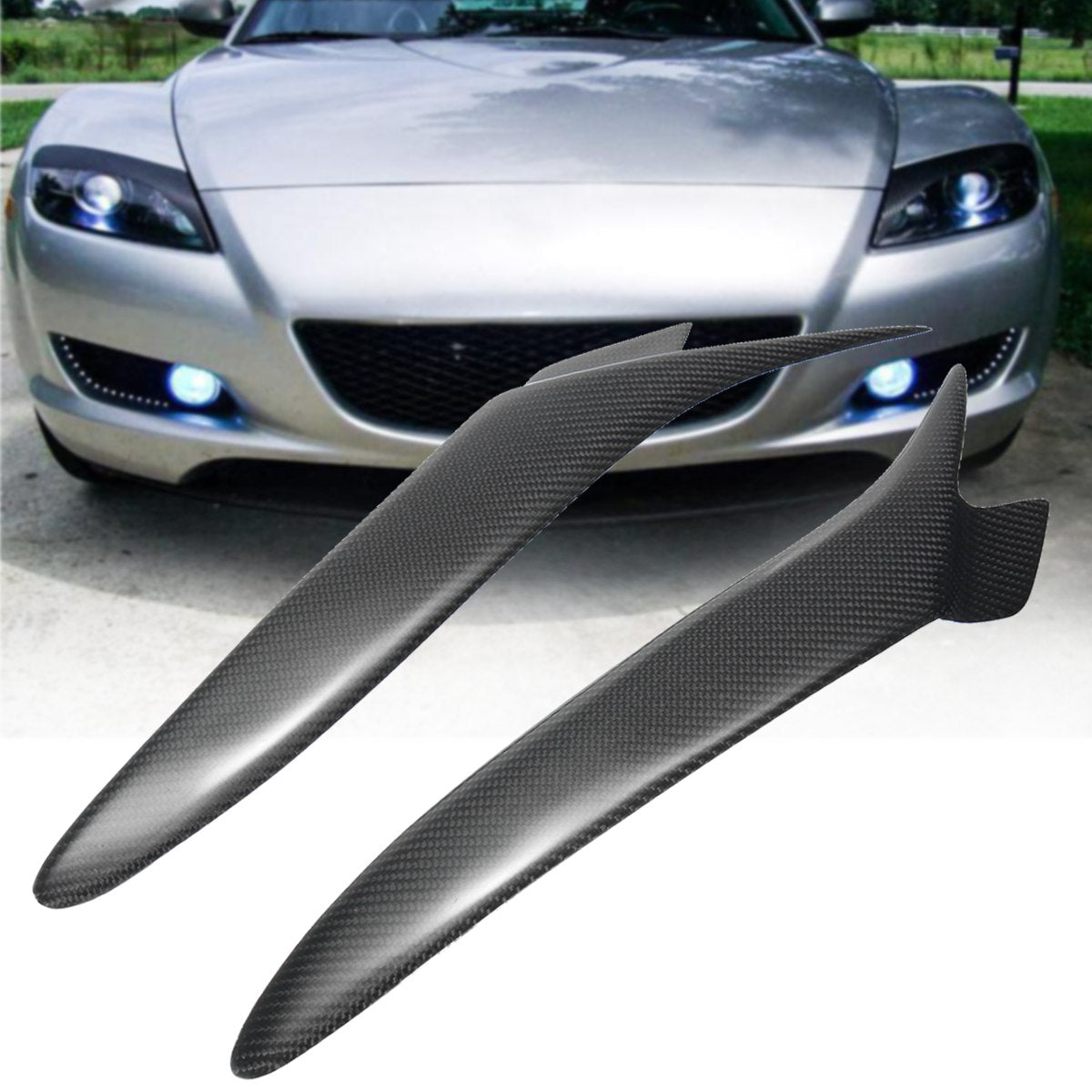 Car Front Headlight Eyebrows Eyelids Cover Carbon Fiber Pattern for Mazda RX 8 RX8 2004-2008 Car Styling Exterior Accessories