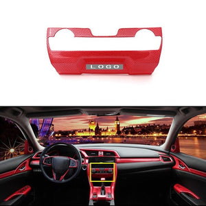 1PC Carbon Fiber Red ABS Central Air Condition Trim For Honda CIVIC 2016 2017 Interior Accessories