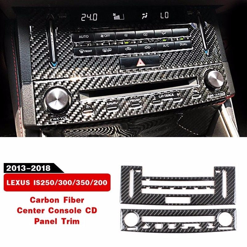 New Carbon Fiber Center Console CD Panel Trim For LEXUS IS250/300/350/200 2014-2018 Interior Accessories