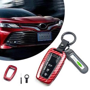 For Toyota Camry 2018 Carbon Fiber Style Key Fob Remote Cover Protector Shell Red Key Case For Car New