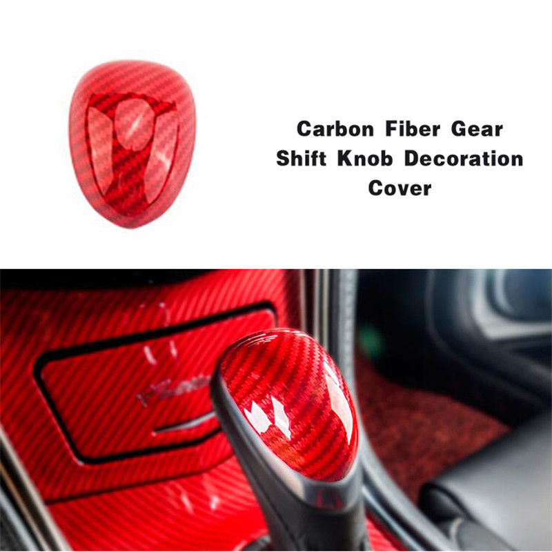New Interior Parts For Cadillac ATS-L 2014-2018 Carbon Fiber Red ABS Gear Shift Knob Decoration Cover Red Fashion