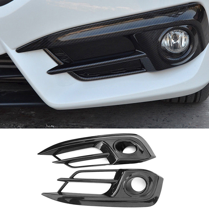Carbon Fiber ABS Car Front Fog Head Light Lamp Cover Trim For Honda Civic 2016-2017 Car Sticker Chromium Styling Exterior Parts
