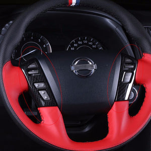 Black Carbon Fiber ABS Steering Wheel Button Cover Trim For Nissan Patrol Y62 2012-2018 Interior Mouldings Accessories 2Pcs
