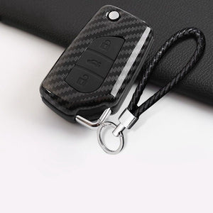 Key Case For Car For Toyota Camry 2018 Carbon Fiber Style Remote Fold Key Fob Cover Smart Case New Fashion Universal