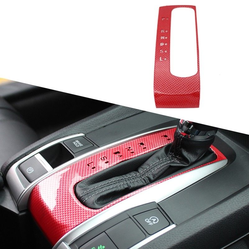 2018 New Red Carbon Fiber ABS Gear Shift Knob Frame Trim For Honda Civic 2016-2017 Interior Mouldings ABS 1PC Car Sticker