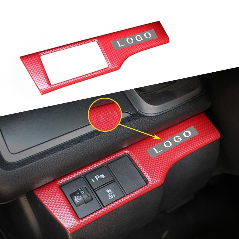 Interior Mouldings 1Pcs Red Carbon Fiber ABS Multi-Function Button Cover Trim New For Honda CIVIC 2016-2017
