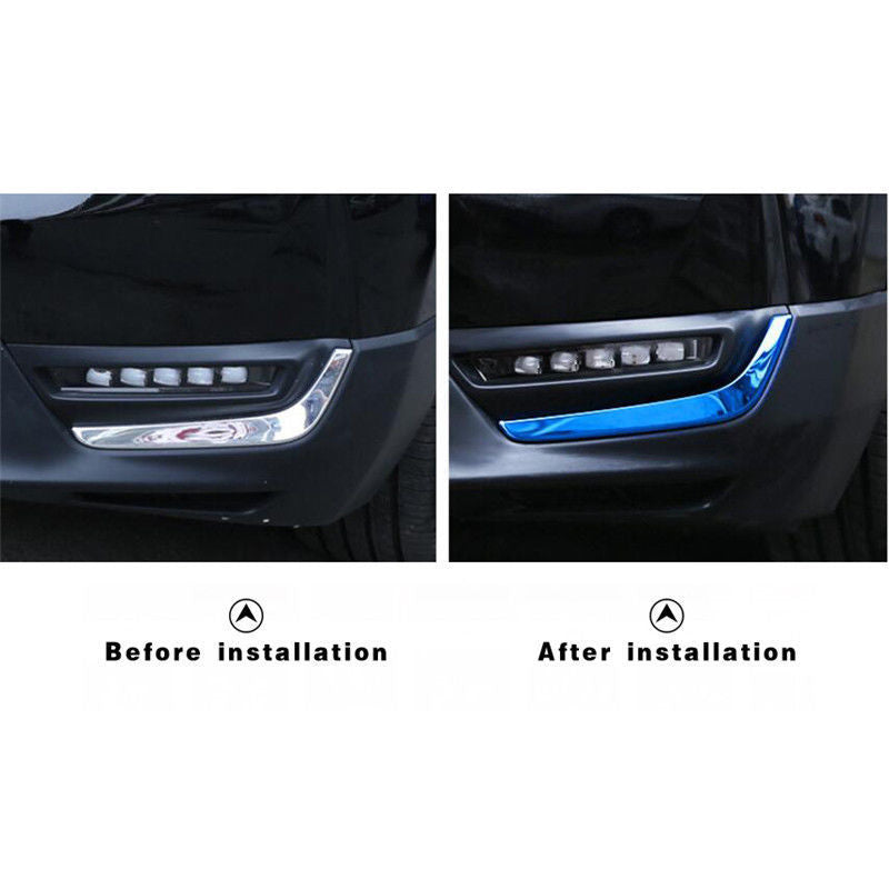 2Pcs Blue Steel Front Fog Light Eyebrow Cover Brow Trim For Honda CRV CR-V 2017 2018 Interior Mouldings Accessories New
