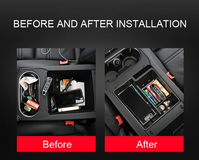for Porsche Cayenne 2018 2019 Car Styling Accessories Black Car Armrest Storage Box Cover Center Console trays