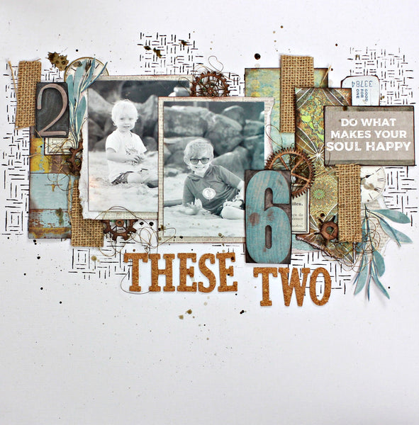 Two small boys on a modern scrapbooking page