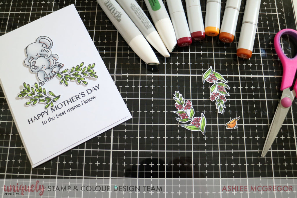 Copic markers, cute elephant stamped image form Uniquely Creative Hey Mama Stamp