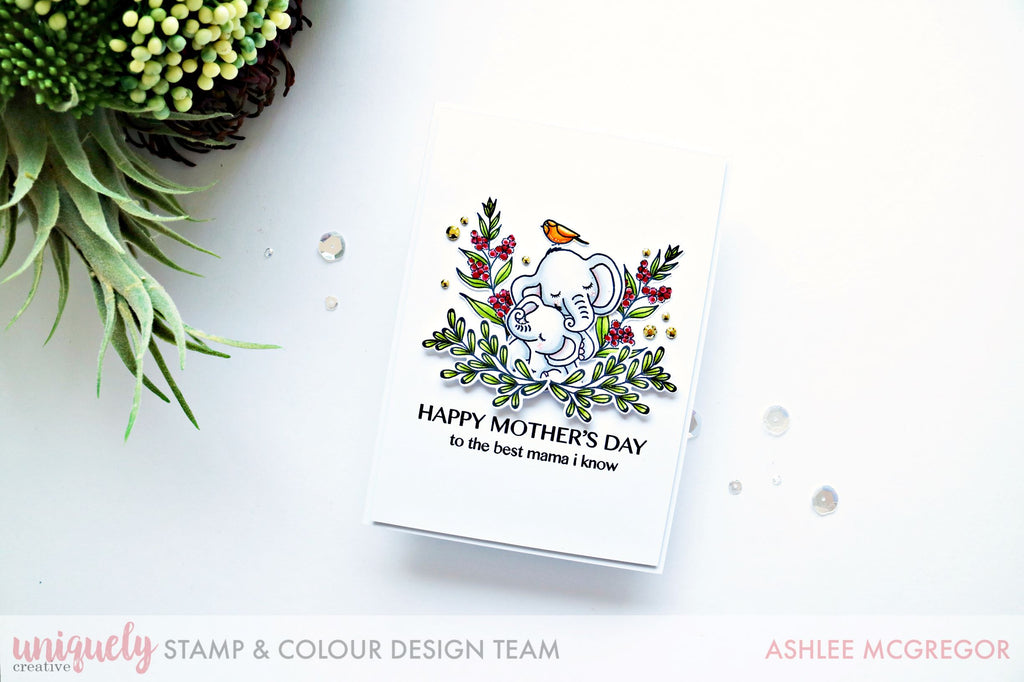 Cute Mothers Day card with a baby elephant and branches