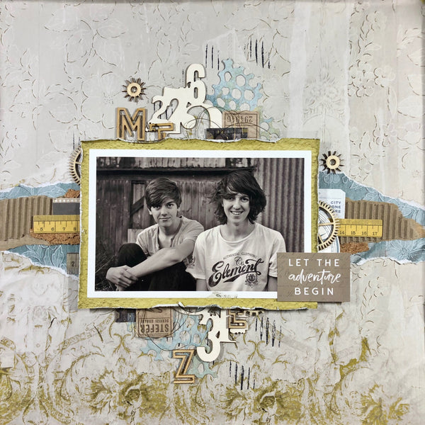 Two teenage boys on a vintage style scrapbooking layout