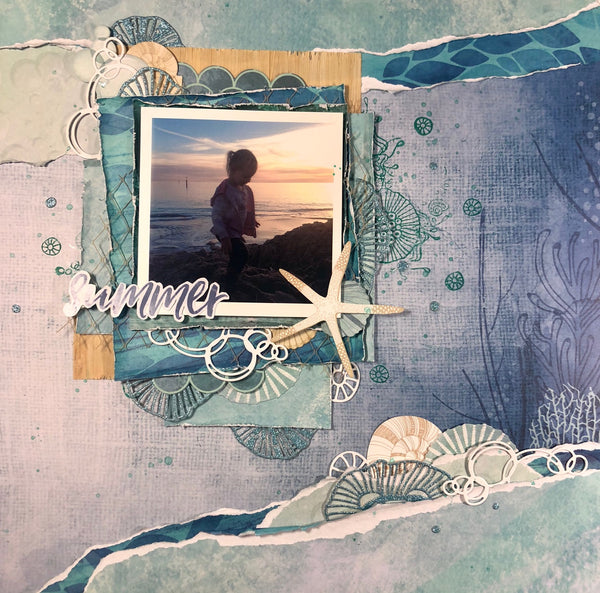 sun set on the beach travel scrapbooking layout