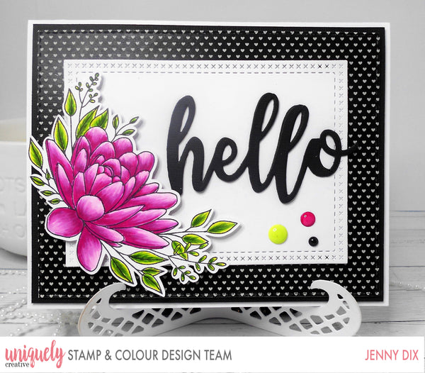 Floral image stamped card hello