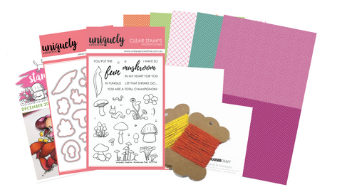 Card Making Kit with cute musrhoom stamps