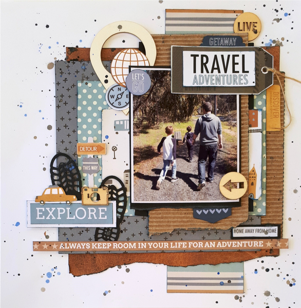 Holiday scrapbooking layout with a family walking