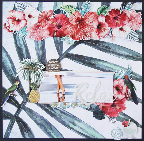 Tropical themed layout with a lady walking on the beach