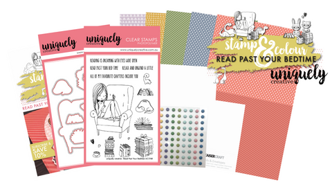 Card making kit with cute stamps to colour