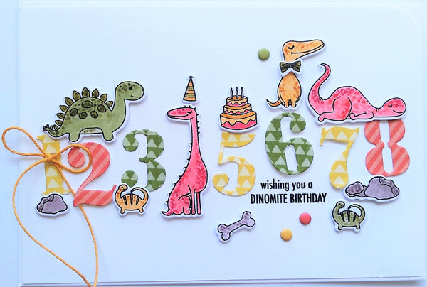 Handmade card with Uniquely Creative Dinosaur Stamp Set