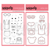 Selfie builder stamp set to make cute bunnies and cats