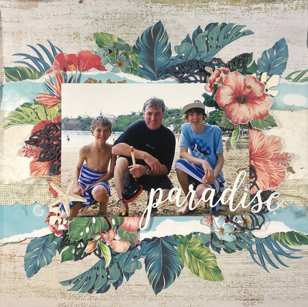 a dad and sons on the beach in paradise scrapbooking layout