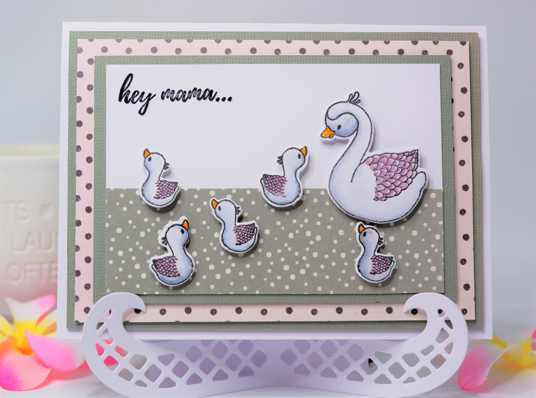Handmade card with a mama swan and her baby swans - with Uniquely Creative Stamp Set