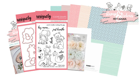Card making kit with cute animal stamps