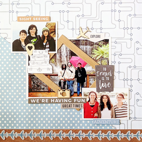 travel scrapbooking layout with a family on vacation