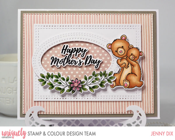 Mothers Day Card with two bears hugging from a stamped image