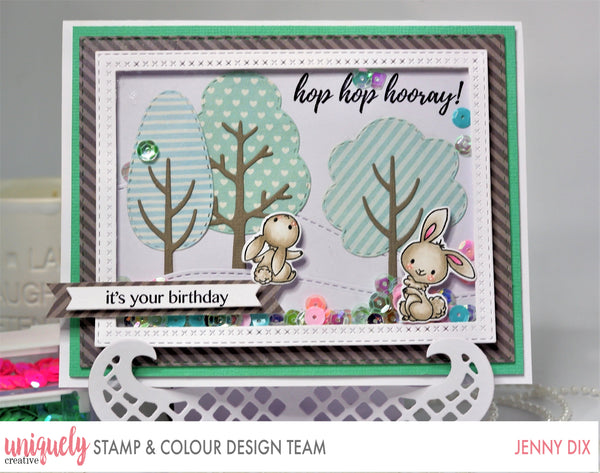 Cute bunny hand made card stamped with a photopolymer stamp