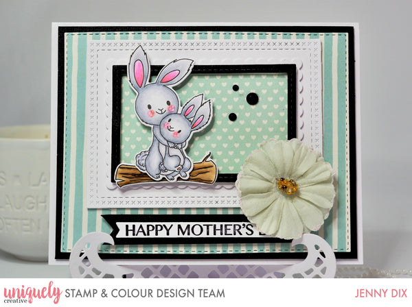 Card making idea for a stamped image of two cute bunnies hugging