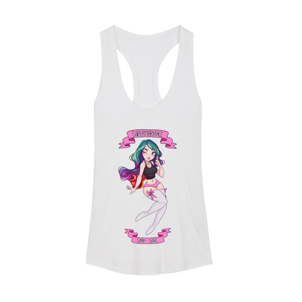 SuperMaryFace - Stay Safe Women's Racerback Tank