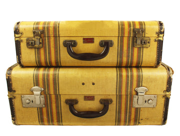 Pair of Striped Suitcases