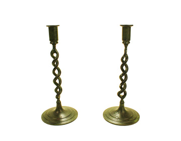 Pewter Twist Candlesticks (Pair)
