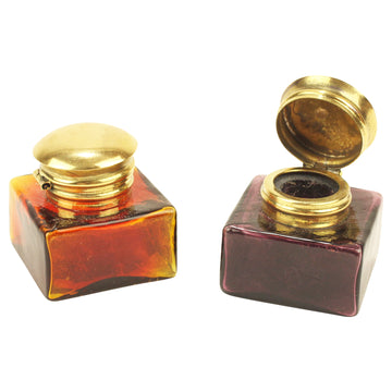 Coloured Glass Inkwells