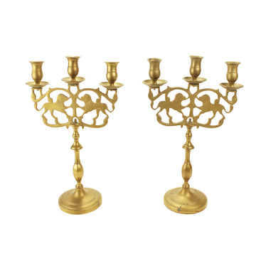 Pair of Brass Dog Candelabras