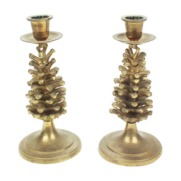Pair of Brass Pinecone Candlesticks