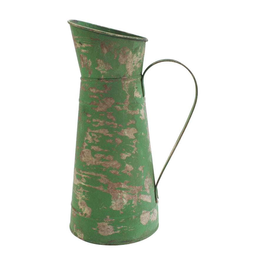 Green tin pitcher